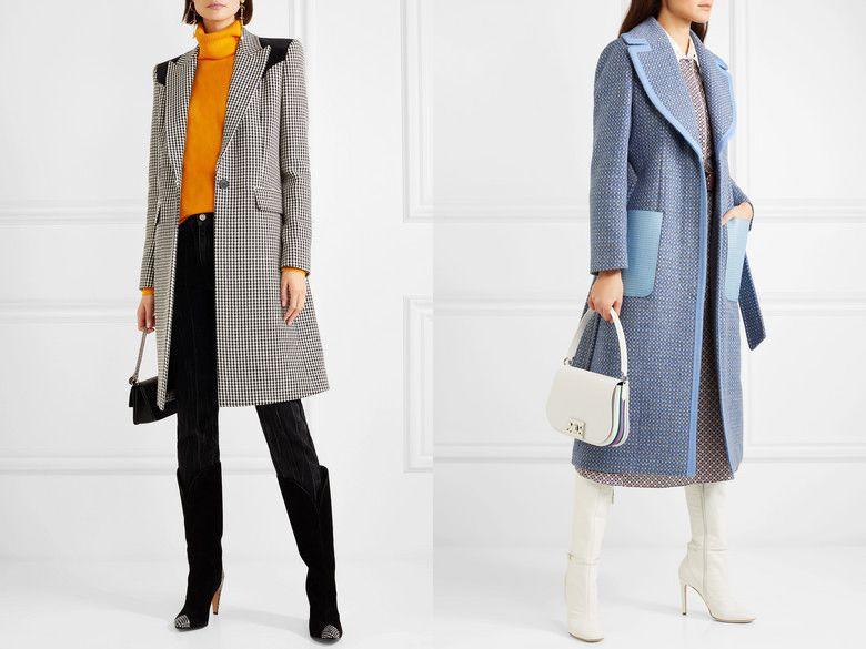 клетчатое пальто и сапоги на каблуках